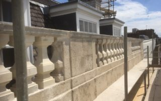 Harley Street London. Removing existing and reinstating new balustrades copping and base stones in natural portland stone.